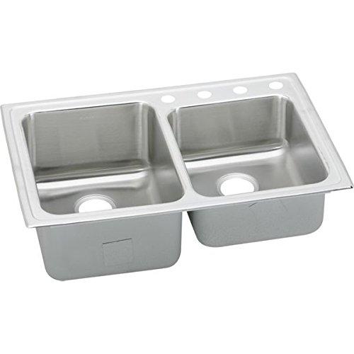 Elkay LGR33221 1-Hole Gourmet Lustertone Stainless Steel 33-Inch x 22-Inch Double Basin Top-Mount Kitchen (Lustertone Double Bowl Corner Sink)