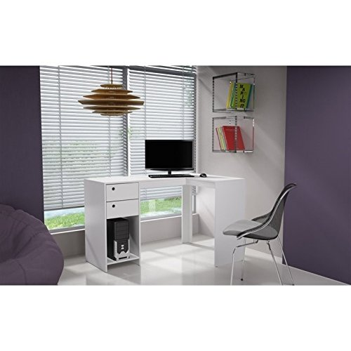 Manhattan Comfort Palermo Classic L-Shaped Office Work Desk With 2 Drawers and 1 Cubby, White
