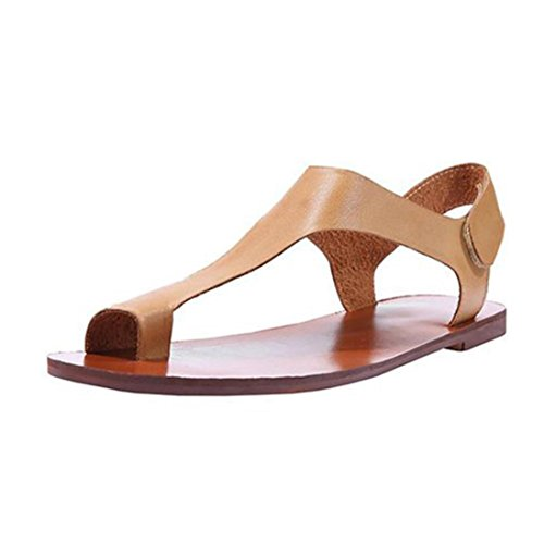 Women Flats Shoes,Hemlock Women Sandals Clip Toe Flip Flops Platform Shoes Flats Bottom Slip On Wedges (US:6, Khaki)