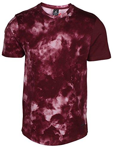 Nike Jordan Men's Clouded Nightmares Graphic T-Shirt-Burgundy-Small