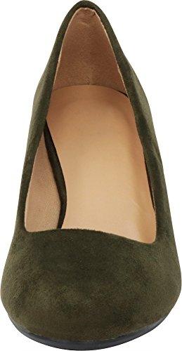 Classic Mid Ballet Women's Cambridge On Slip Olive Pump Wedge Imsu Select Heel BEwE4xHf