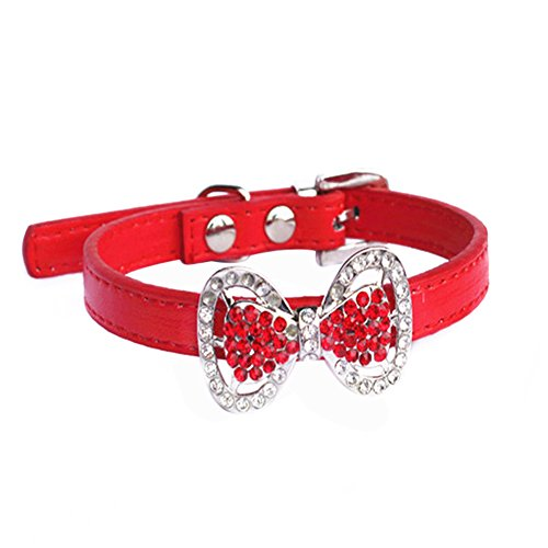 Yunt Bling Rhinestone Pet Cat Dog Bow Tie Collar Necklace Jewelry,Female Puppies Chihuahua Yorkie Girl Costume Outfits(Red,Small) ()