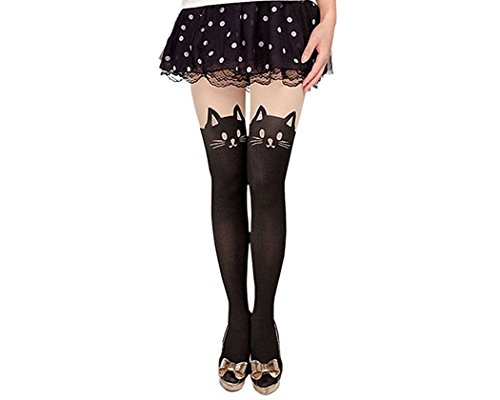 DS. DISTINCTIVE STYLE Animal Tattoo Tights Japanese Style Cosplay Pantyhose, Black, XS – Cat