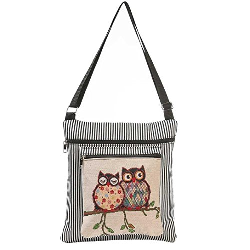 Charberry Owl Printed Women Casual Tote Daily Use Shopping Bag - Black Diorissimo