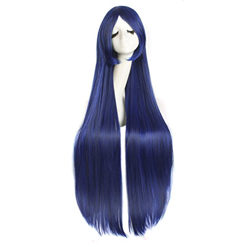 """MapofBeauty 40"""" 100cm Anime Costume Long Straight Cosplay Wig Party Wig (Blue/Black)"""