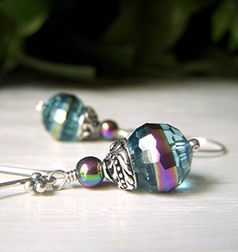Carnival Glass Crystal Earrings, Rainbow Finish, Teal Slate Blue Dangle, Sterling Silver