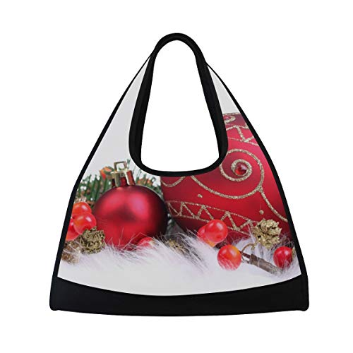 Gym Bag Red Christmas Decorations Women Yoga Canvas Duffel Bag Sports Tote Bags for Girls ()