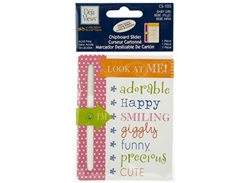 (Bulk Buys CG390-48 Baby Girl Chipboard Slider with Glitter Accents)