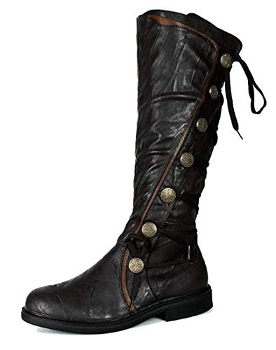 Military Steampunk Western Vintage Style Halloween Costume Adult Mens Boots M Black