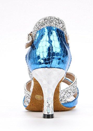 Tda Kvinners Stilig T-stropp Peep Toe Glitter Syntetisk Salsa Tango Ballroom Latin Dans Bryllup Sko Blå