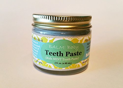 BALM Baby Teeth Paste All Natural Fluoride Free Kids Toothpaste with Xylitol GLASS Jar Made in USA (Fresh Mint) 2 fl oz (Toothpaste In Babies)