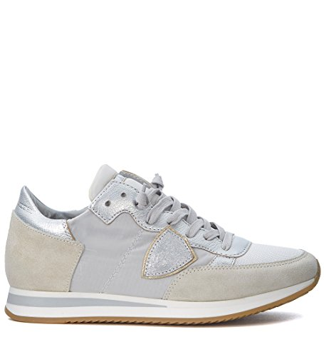 Modello Philippe Donna Tropez Mondial Beige E Argento Sneaker Bianco