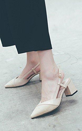 Épais Femmes Dames Mode de Petites avec Chaussures Profonde Pointus Parfumées Chaussures Talons Sauvage Bouche Abricot NSX Hauts Peu Chaussures qw06XBwz