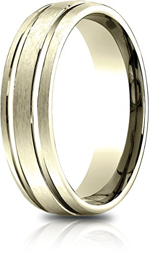 Benchmark 14K Yellow Gold 6.5mm Comfort-Fit Satin-Finished with Center Grooves Carved Dsgn Band (Size 9.25) ()