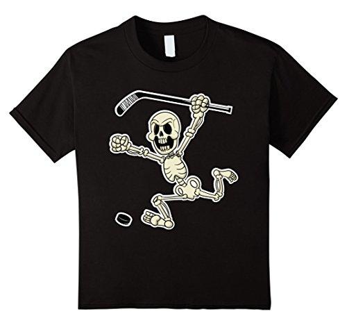 Kids Skeleton with Hockey Stick & Puck Halloween Costume T-Shirt 4 (Hockey Girl Halloween Costumes)