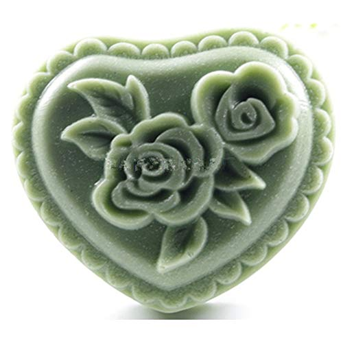 (GreatMold Heart Shaped Rose Flower Soap Bar Mold Silicone Soap Mould DIY Craft Cake Candle Resin Mold One Cavity)