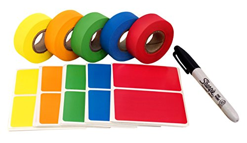 Storage Color Code - ChromaLabel Moving Buddy Kit: Color-Code Label & Tape Pack | 150 Labels, 5 Rolls of Clean-Remove Tape, Permanent Marker