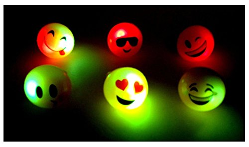 24 PCS Light-Up Emoji Jelly Rings Emoticon Flashing LED Emotions Favors (Emoji Ring)