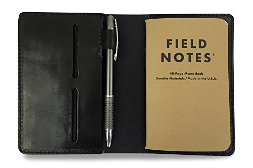 Full Grain Leather Field Notes Notebook Cover Wallet with Pen Holder - Handcrafted in USA by Jackson Wayne - Fits 3.5