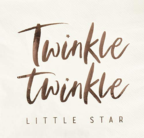 Ginger Ray Rose Gold Foiled Twinkle Paper Napkins X16 Baby Shower Tableware Decoration - Twinkle