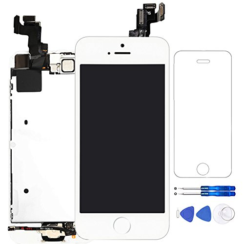 Corepair for iPhone 5S LCD Screen White Full Assembly Display Replacement Touch Digitizer with Home Button, Front Camera, Ear Speaker, Repair Tools and Screen Protector …