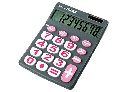 Milan 151708GBL - Calculadora, 8 digitos, color gris y rosa