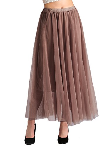 Beluring Mesh High Waisted Skirt Tulle Maxi Skirts for Women Coffee Plus Size