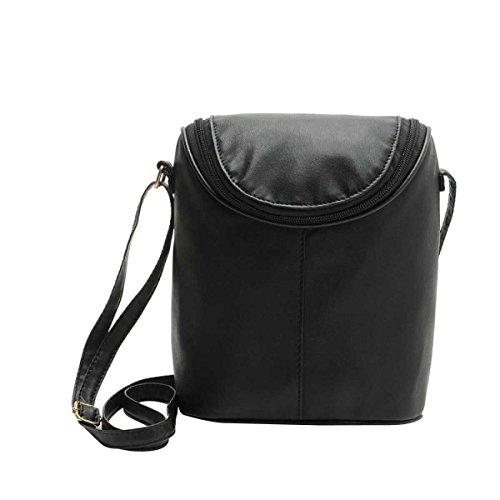 Messenger Bag Semplice Borsa Tracolla In Pelle Secchio Donne Dellunità Di Elaborazione Della Moda Black