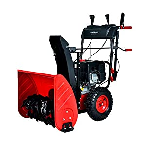 PowerSmart Snow Blower, PSSAM24 24-inch 212cc 2-Stage Electric Start Gas Snow Blower, Color Red and Black