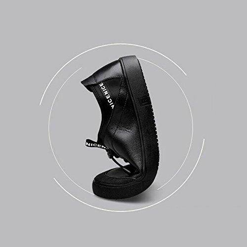 HUAN les Chaussures en Cuir Décontractées des Hommes Bas-Dessus Sneakers Fashion Deck Shoes Anti-Slip Wear Black ATv3j4Rxz1