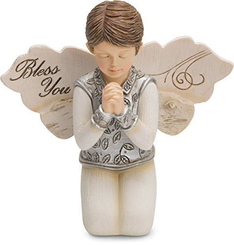 (Pavilion Gift Company 82419 Elements Bless You Boy Angel Figurine Kneeling and Praying 3.5 Inch)