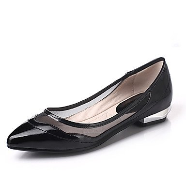 Cómodo y elegante soporte de zapatos de las mujeres pisos primavera verano otoño Club zapatos charol boda al aire libre oficina y carrera partido y vestido de noche Casual Flat heelblack rojo