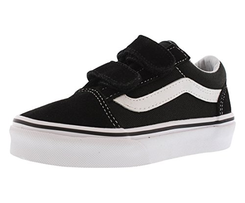 Vans Kids Old Skool V Black/True White Skate Shoe 12 Kids US - Toddler White Combo Footwear
