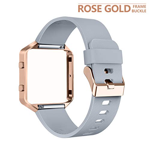 AIUNIT Compatible Fitbit Blaze Band Frame, Replacement for Fitbit Blaze Small Bands Accessories Wristband Watch Sport Strap for Fitbit Blaze Smart Tracker Women Men Teens(Gray Band & Gold Rose Frame)