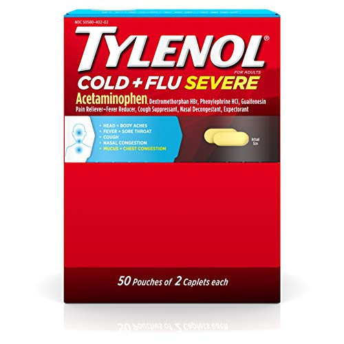 Tylenol Cold + Flu Severe Medicine Caplets for Cold, Flu, Fever & Cough Relief, 50 Pouches of 2 ct. ()