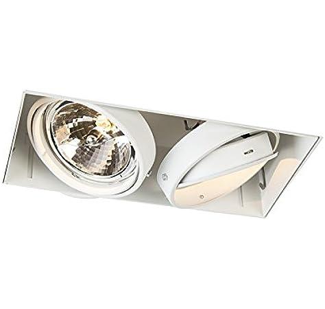 QAZQA Moderno Foco empotrado blanco orientable 2 luces sin