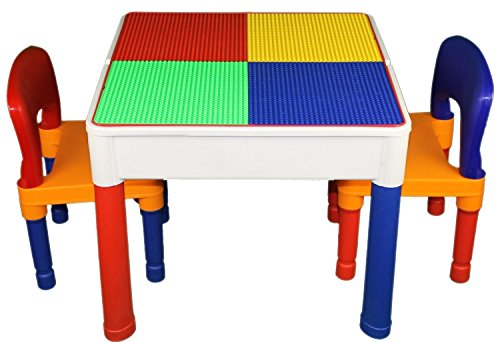 Kids Construction Table Duplo & Lego Compatible w/ 2 Chairs (VIEW ALL PHOTOS)