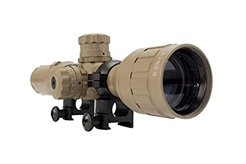 Monstrum Tactical 3-9x32 AO Rifle Scope with Illuminated Range Finder Reticle and High Profile Scope - Coyote Target