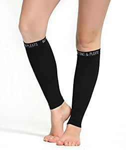 Calf Compression Sleeve for Women & Men - Footless Leg Sleeves Socks - Boosts Circulation - Reduces Fatigue - Eases Shin Splints 1 Pair Black S/M