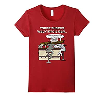 Distressed Walk Into a Bar Beer Joke Funny Shark T Shirt