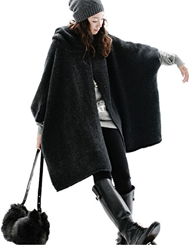 ES Women Wool Hooded Cardigans Sweater Women Outwear Women Capes Woman Coat (Dark Gray)