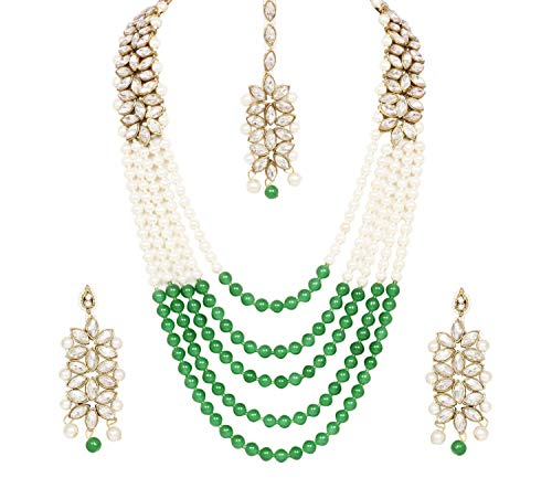 CROWN JEWEL Bollywood Indian Fashion Wedding Pearl Gold Plated Bridal Jewelry Necklace Earring Set for Women (Green)