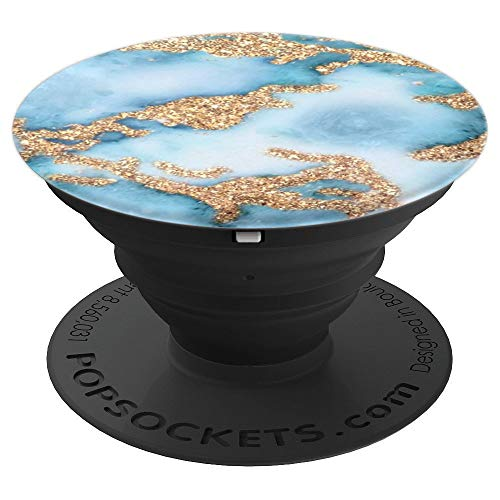 Light Blue White And Golden Yellow Marbled Design PopSockets Grip and Stand for Phones and Tablets