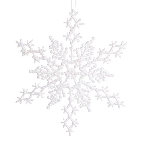 Darice 1619-63 6-Piece Snowflake Ornament, 6.5-Inch, Pearlized -