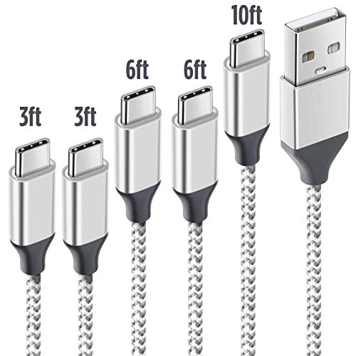 USB Type C Cable 5 Pack[3ft 6ft 10ft] Silver 01