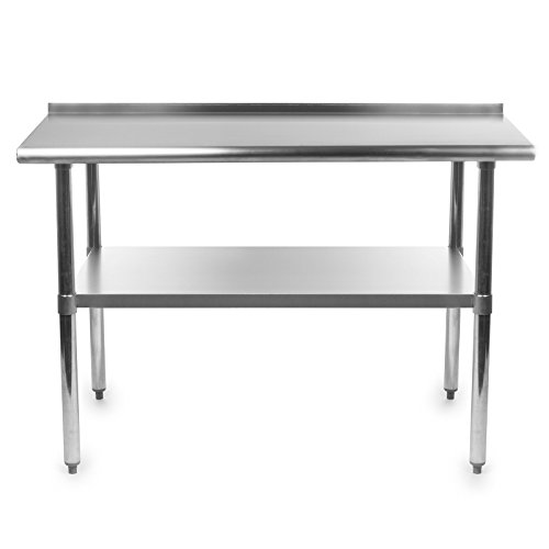 amazoncom gridmann stainless steel commercial kitchen prep work table with backsplash 48 x 24 inches industrial scientific - Kitchen Prep Table Stainless Steel
