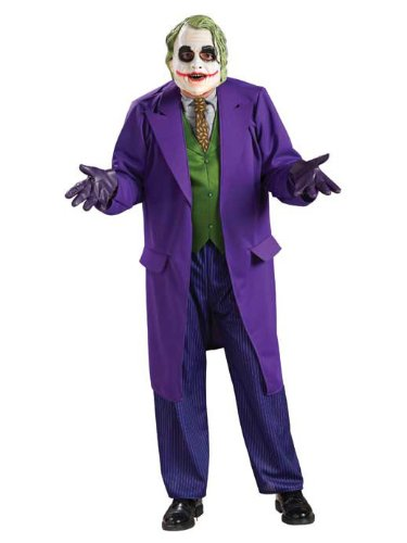 [Batman The Dark Knight Joker Deluxe Costume, Purple, X-Large] (The Joker Masquerade Costume)