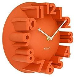 SODIAL(R) Home Decor Creative Modern Art 3D Number Dome Round Wall Clocks, Orange 22.5 22.5 9cm