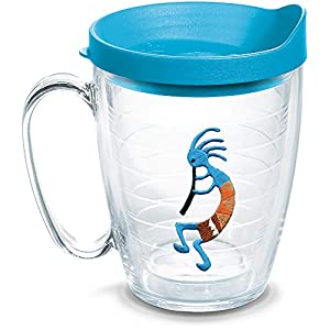 Tervis 1302150 Kokopelli - Blue Insulated Tumbler with Emblem and Turquoise Lid 16oz Mug Clear