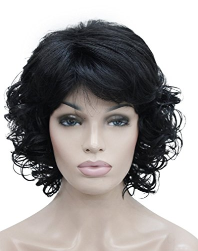 [Kalyss Women's Short Curly Heat Resistant Synthetic Black Hair Wigs] (Curly Synthetic Hair)